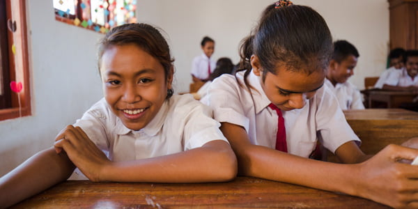 Students at rebuilt school in Kupang. Photo by Dominic Hall.